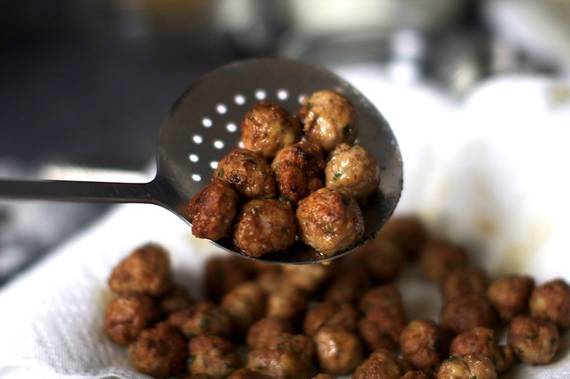 tiny browned meatballs