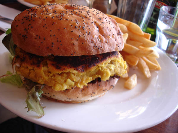 "My Cafe (Canberra) - ""Spicy"" lentil and macadamia burger"