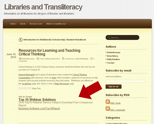 Google Ads on Libraries and Transliteracy - NOT cool