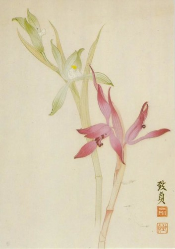 Chinese woodblock print of orchids (postcard)