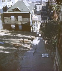 BH132 Angels Flight steps, Bunker Hill, Los Angeles - November 1962.  This copyrighted photograph was taken by George Mann of the comedy dance team, Barto & Mann.jpg
