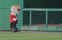 Washington Nationals racing president Teddy Roosevelt rides a Segway during the presidents race