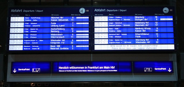 Departures board, Frankfurt Central Station