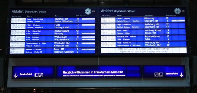 Departures board, Frankfurt Central Station