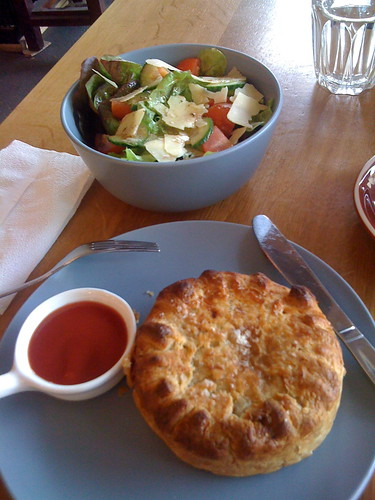 lamb shank pie with side salad