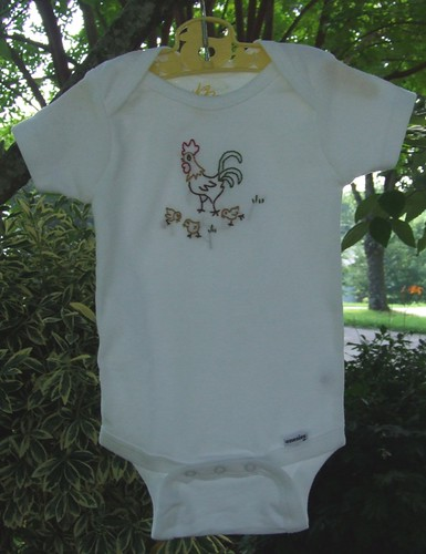 Rooster + chicks Onesie
