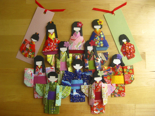 Family of Japanese Chiyogami Origami Dolls