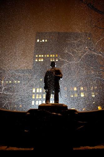 Snow falling on David Glasgow Farragut