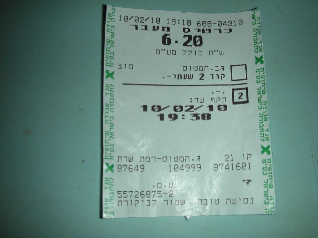 כרטיס עם תוקף בירושלים