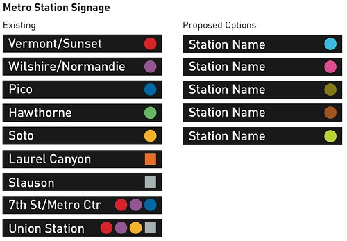 Existing and proposed Metro Station signage colors