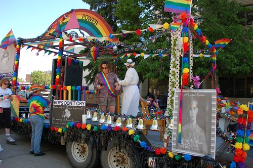 Posters of Brandon Teena and Matthew Shepard on the Womonspace float at Edmonton's 2010 Pride Parade.