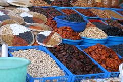 Mixed nuts and dried fruits at Tashkent Markets