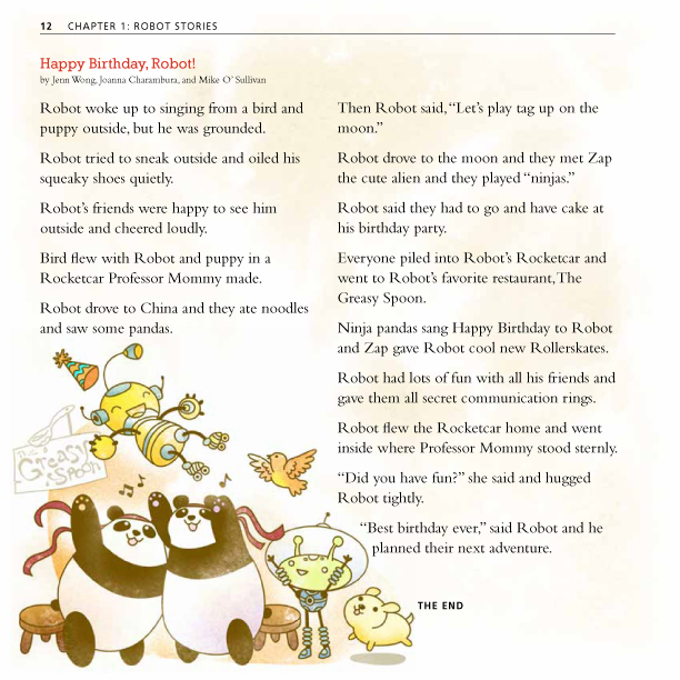 An image of a page from Happy Birthday Robot that features a sample story created using the game. The pages features in illustration of ninja pandas tossing Robot into the air, which comes from the story.