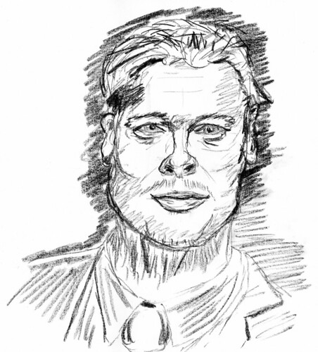Brad Pitt, drawn on June 4, 2010