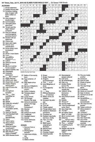 NYT Sunday Puzzle - 7/11/10