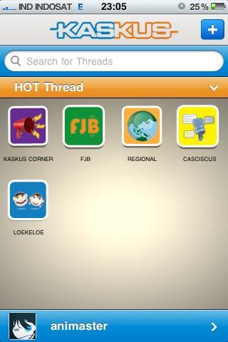 Tampilan Kaskus App untuk iPhone, iPod Touch, dan iPad
