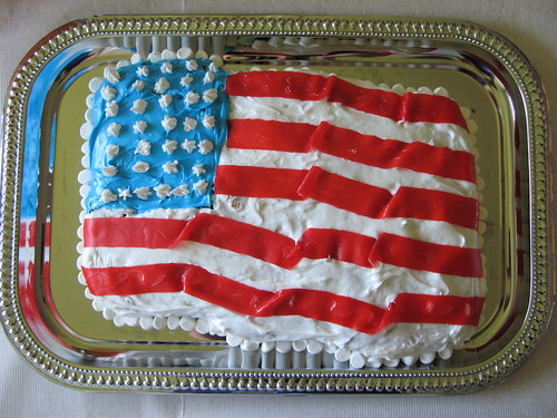 Waving flag cake for 4th of July