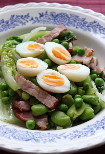 Braised Lettuce w Broad Beans, Peas, Ham & Quails Eggs