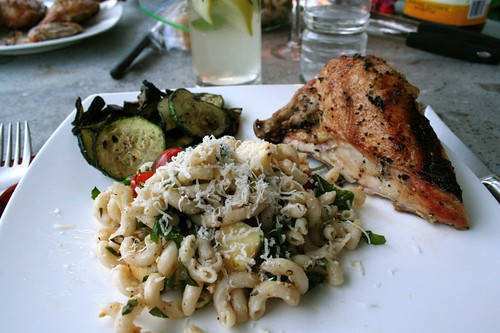 Dinner. Grilled chicken, pasta salad, grilled veggies