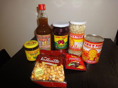 Huacatay, chicha de jora, botija olives, choclo, olluco, aji panca, cancha