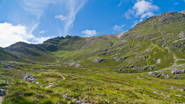 The path down the mountain - see area of scree in top right - that's the path!