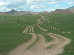 Roads in Mongolia emerge from repeated erosion from infrequent traffic