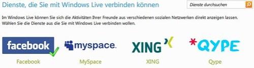 Dienste, die Sie mit Windows Live verbinden können