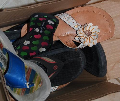 washing flip flops