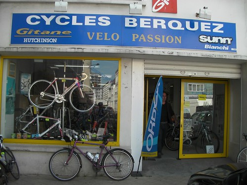 Bike shop in Boulogne where Jen's back whel got straightened out.