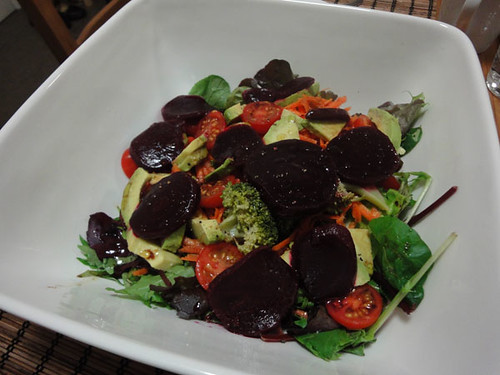 Mixed leaves, cherry tomatoes, broccoli, carrots, avocado and beetroot salad