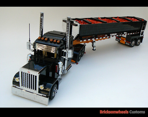 Lego Peterbilt Semi Truck Trailer Chrome