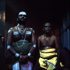 Priests at Sri Poyyatha Vinayagar Moorthi Temple (the oldest Hindu temple in Malaysia) (lcy) Tags: 6x6 mediumformat indian slide ishootfilm unesco worldheritagesite squareformat e6 melaka malacca 120mm pushprocessed  peopleportrait rxp epsonv700 mamiyac330f fujichromeprovia400x peopleihaveasked sekor65mmf35 malaysia2010