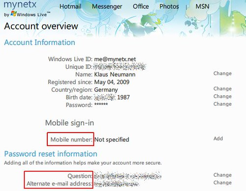 Windows Live Account