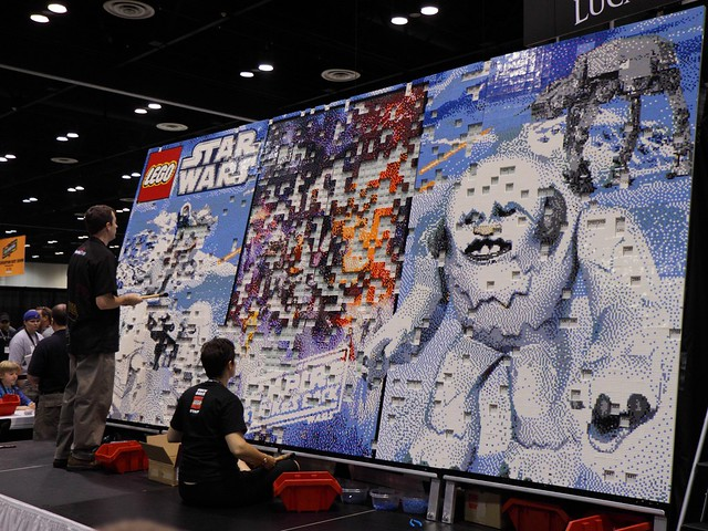 A large mural made of Lego