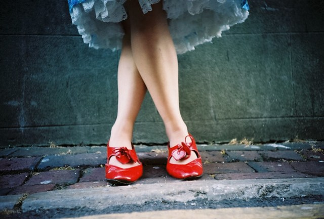 frilly dress red shoes