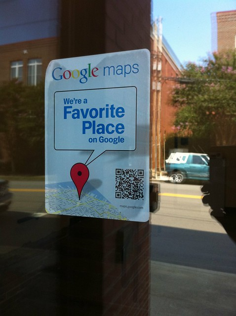 QR codes at businesses downtown Raleigh