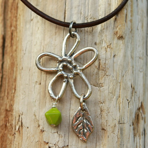 Sterling silver floral pendant with botanical charms necklace