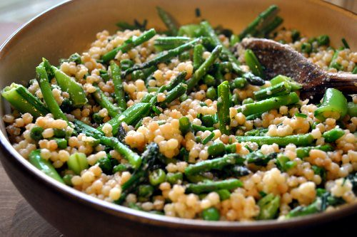 Israeli Couscous with Crispy Greens