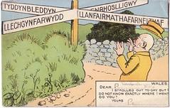 Cymru placenames cartoon postcard 2