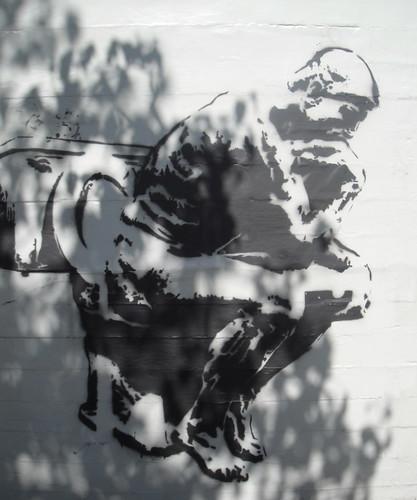 Not Banksy Thinker on Upper Haight