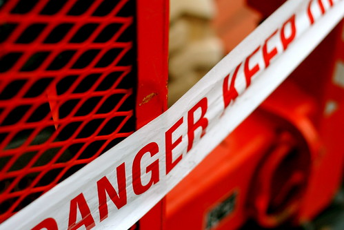 Monday: A crane near my office. Danger, Keep Out,.