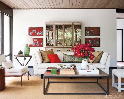 Jesse Carrier Fielden house living room Elle Decor
