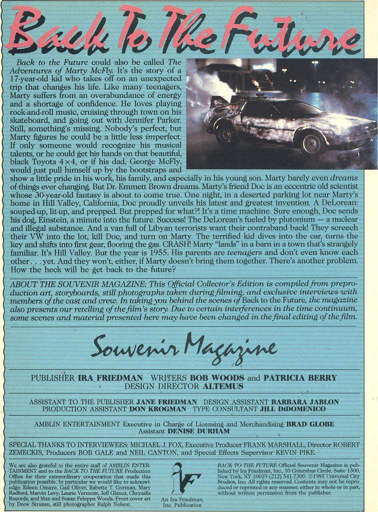 BTTF souvenir mag page 1