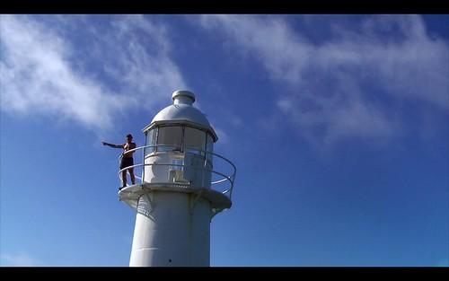Rick on lighthouse, East Coast Trail, Newfoundland