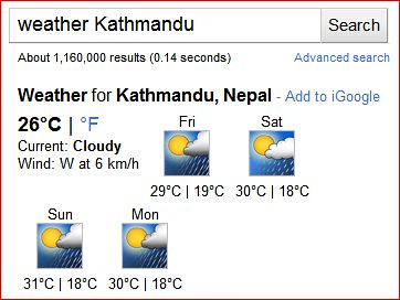 Google Weather Kathmandu