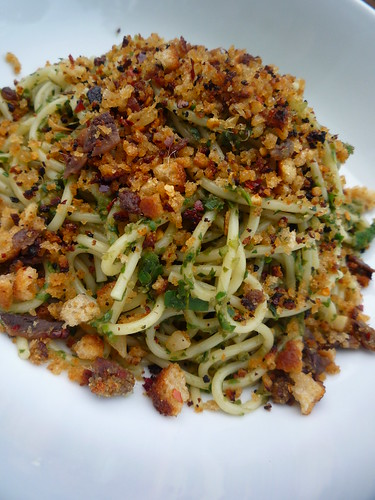 Spaghetti with Kale (Green Vegetables) & Anchovy ,Chilli ...