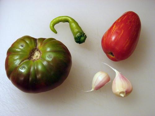 tomatoes, garlic, chile