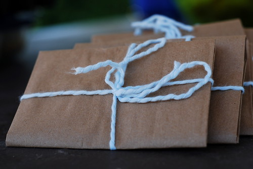 brown paper packages, tied up with string