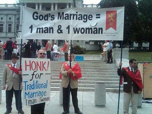 "HONK for ""Traditional Marriage"" signs among NOM supporters"