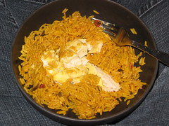 Dinner: two-mustard chicken & Goya mexican rice